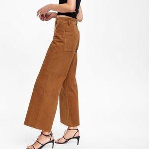 Zara Marine Straight Wide-leg Rust Jeans | Sz.4
